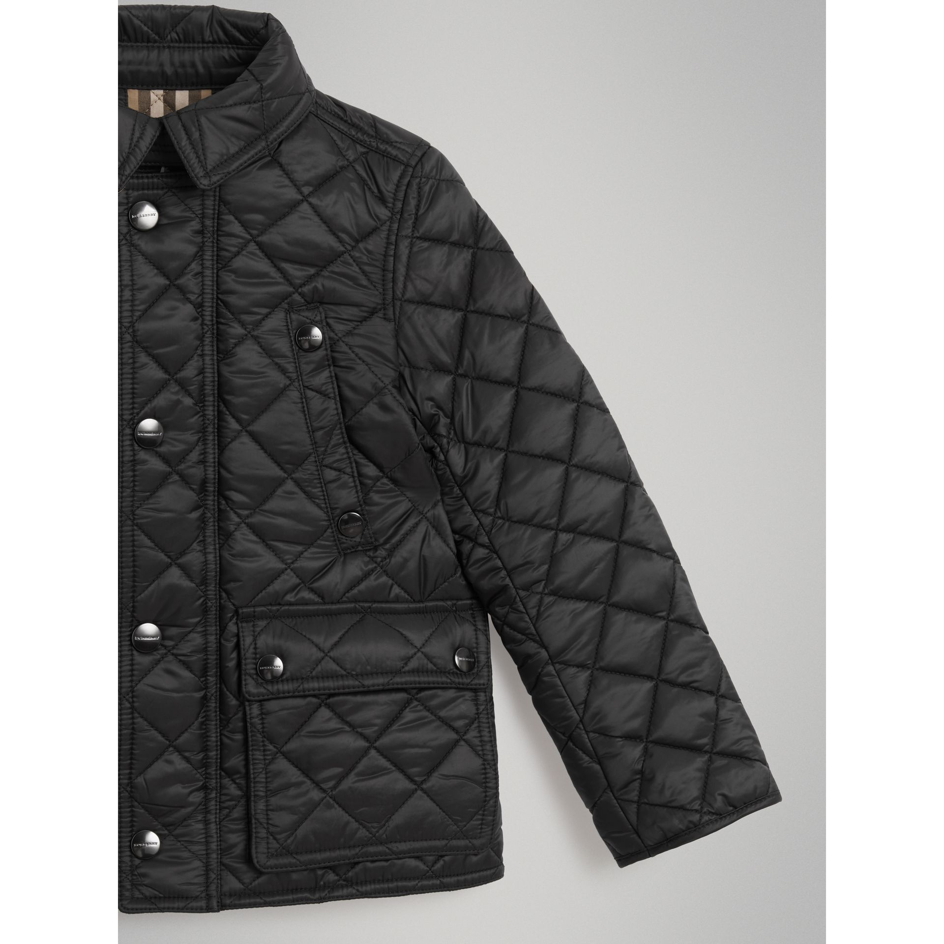 Detachable Hood Diamond Quilted Jacket in Black | Burberry - gallery image 4