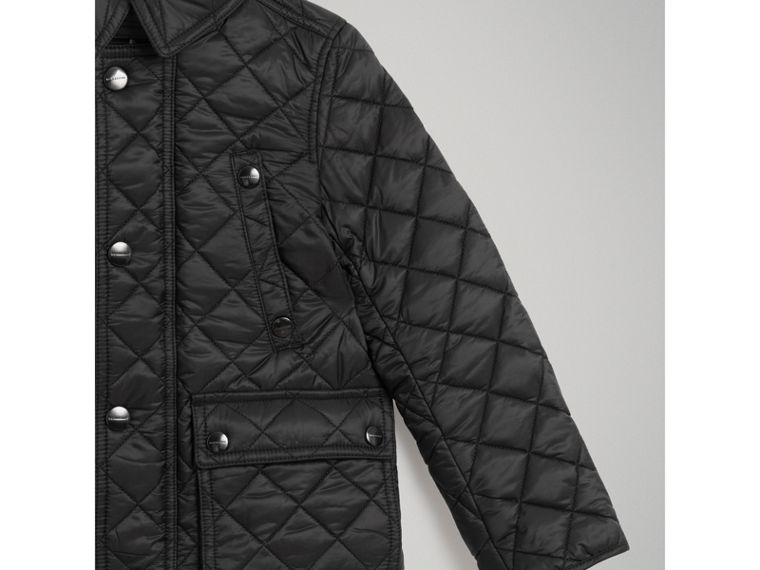 Detachable Hood Diamond Quilted Jacket in Black - Boy | Burberry - cell image 4
