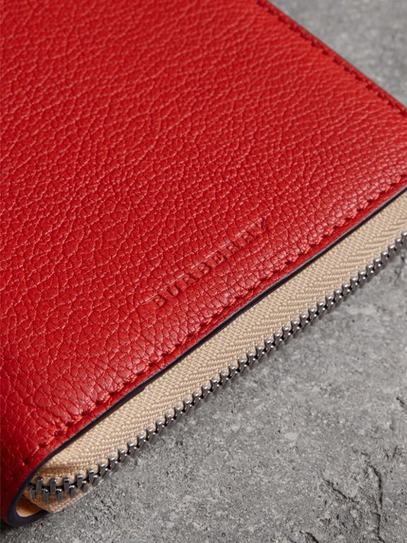 Two-tone Leather Ziparound Wallet in Bright Red - Men | Burberry United Kingdom - cell image 1