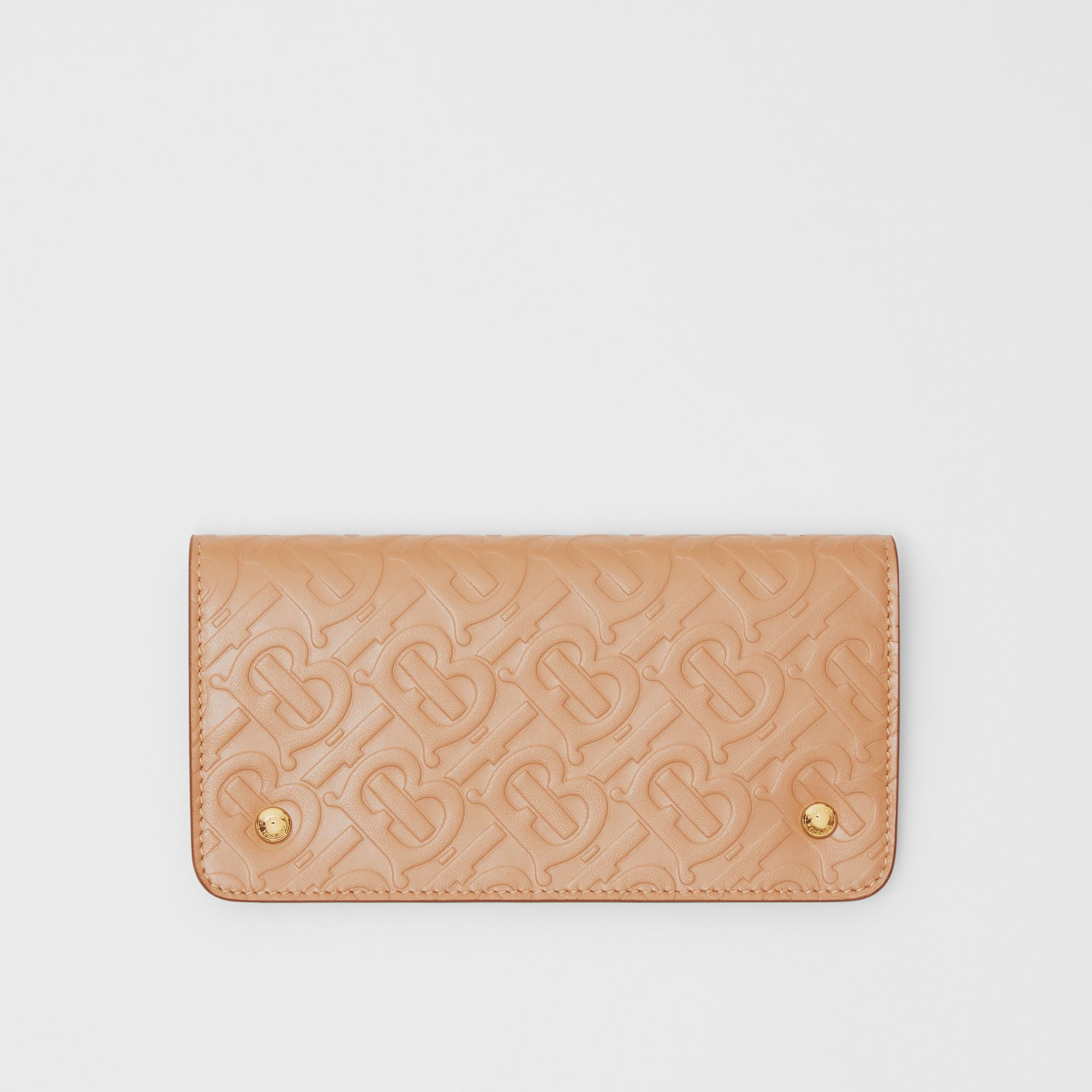 Monogram Leather Phone Wallet in Light Camel | Burberry United Kingdom - gallery image 0
