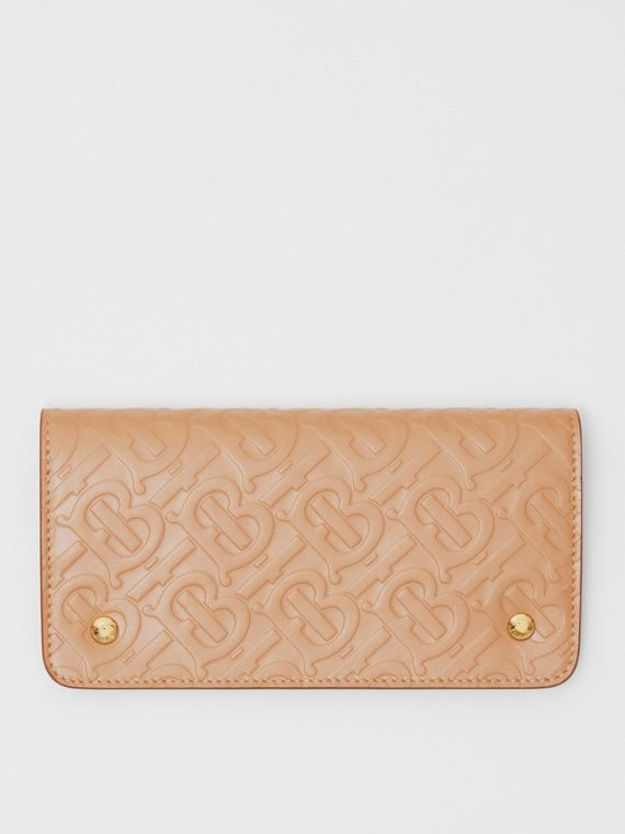 Monogram Leather Phone Wallet in Light Camel