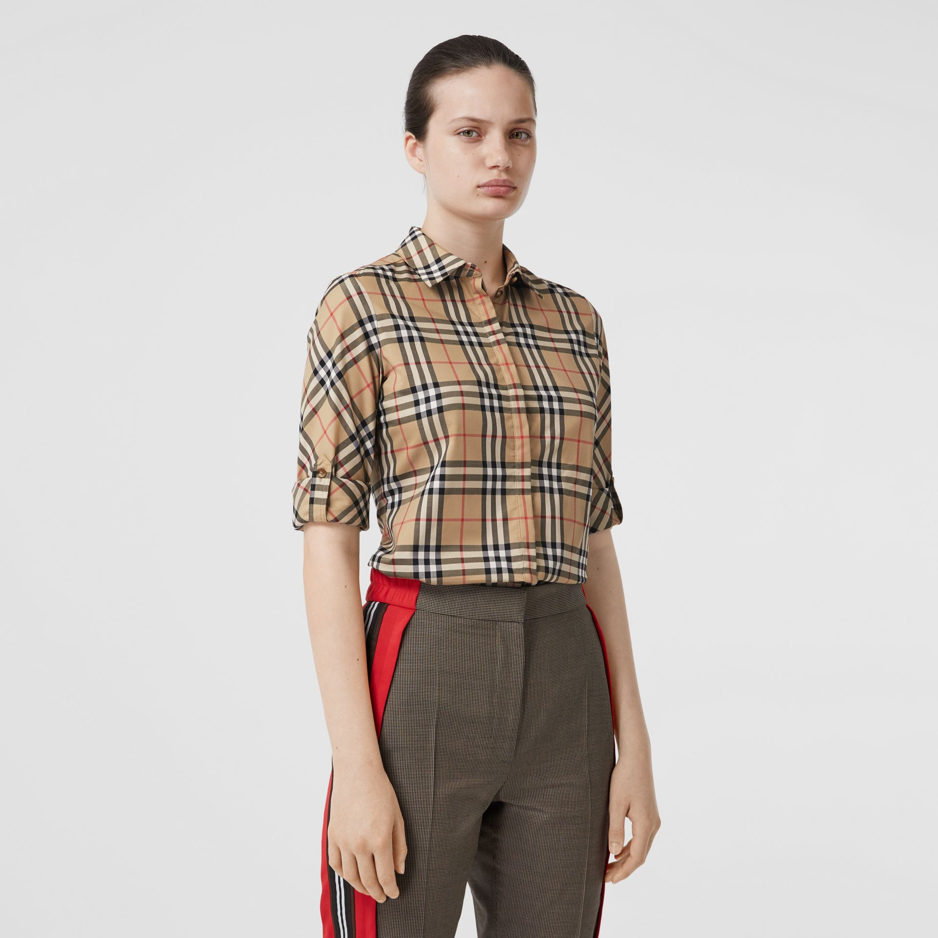 Vintage Check Stretch Cotton Twill Shirt in Archive Beige - Women | Burberry - gallery image 5
