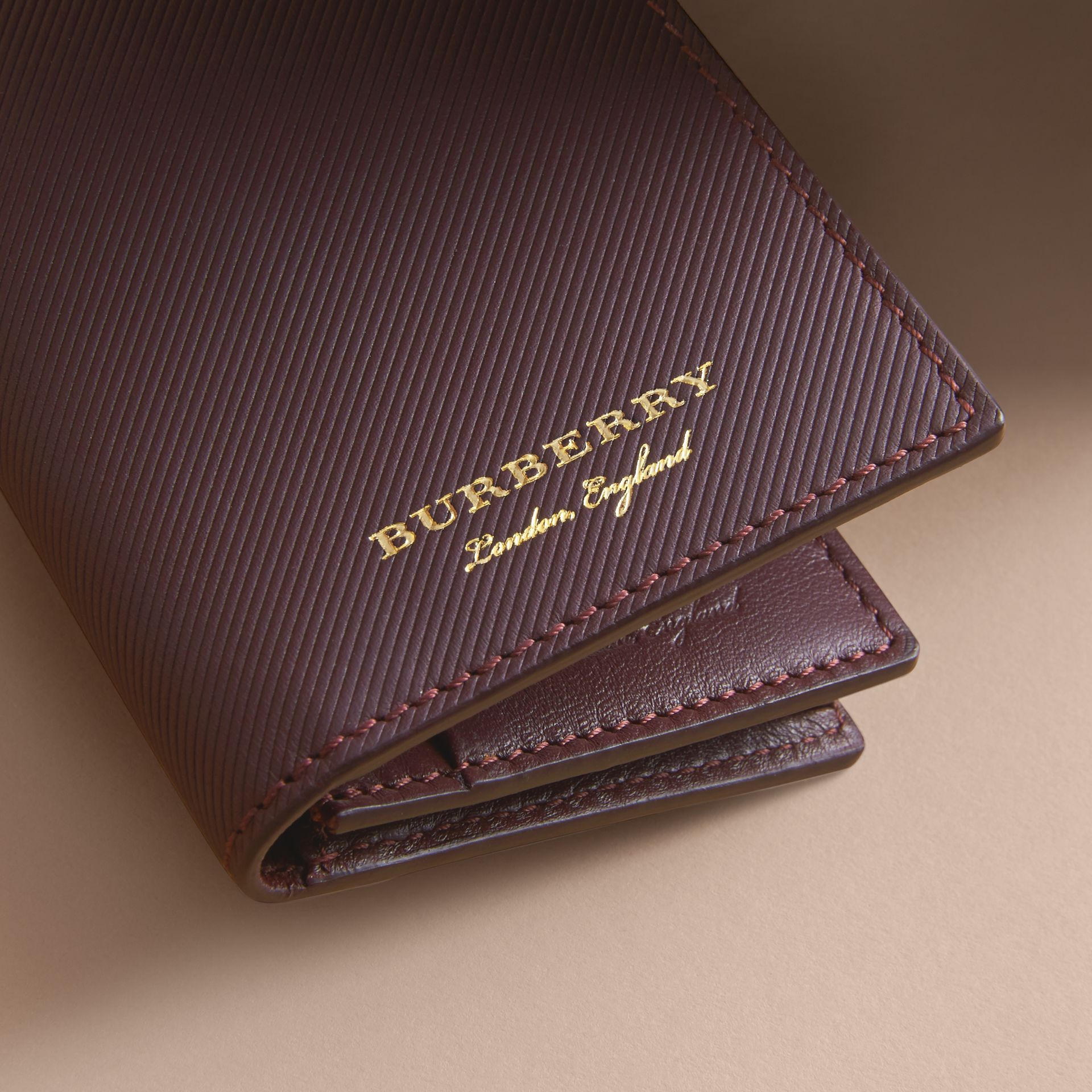 Trench Leather Folding Card Case in Wine - Men | Burberry - gallery image 2