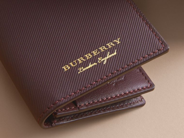 Trench Leather Folding Card Case in Wine - Men | Burberry United Kingdom - cell image 1