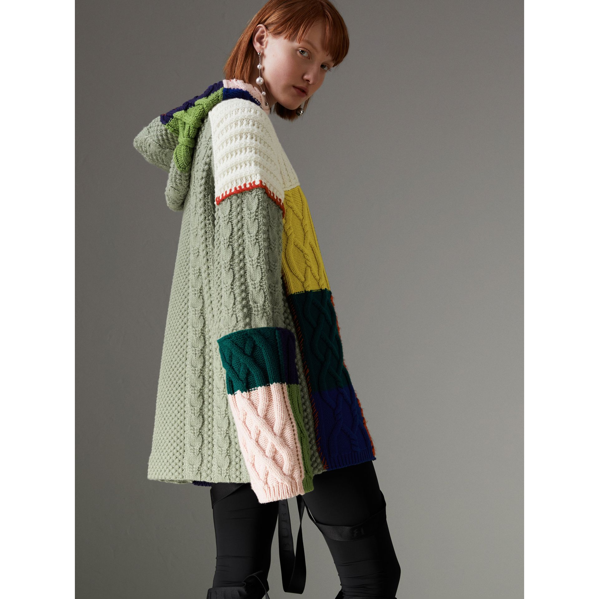 Wool and Cashmere Blend Patchwork Hoodie in Multicolour - Women | Burberry - gallery image 2