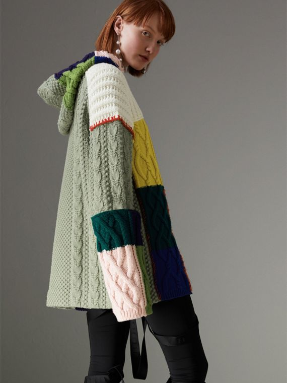 Wool and Cashmere Blend Patchwork Hoodie in Multicolour - Women | Burberry - cell image 2