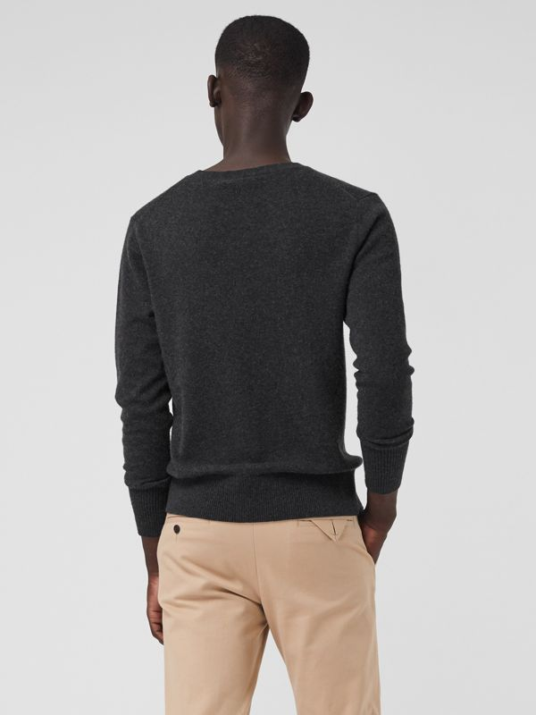 Embroidered Archive Logo Cashmere Sweater in Charcoal Melange - Men | Burberry - cell image 2