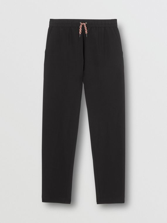 Icon Stripe Detail Wool Mohair Trackpants in Black