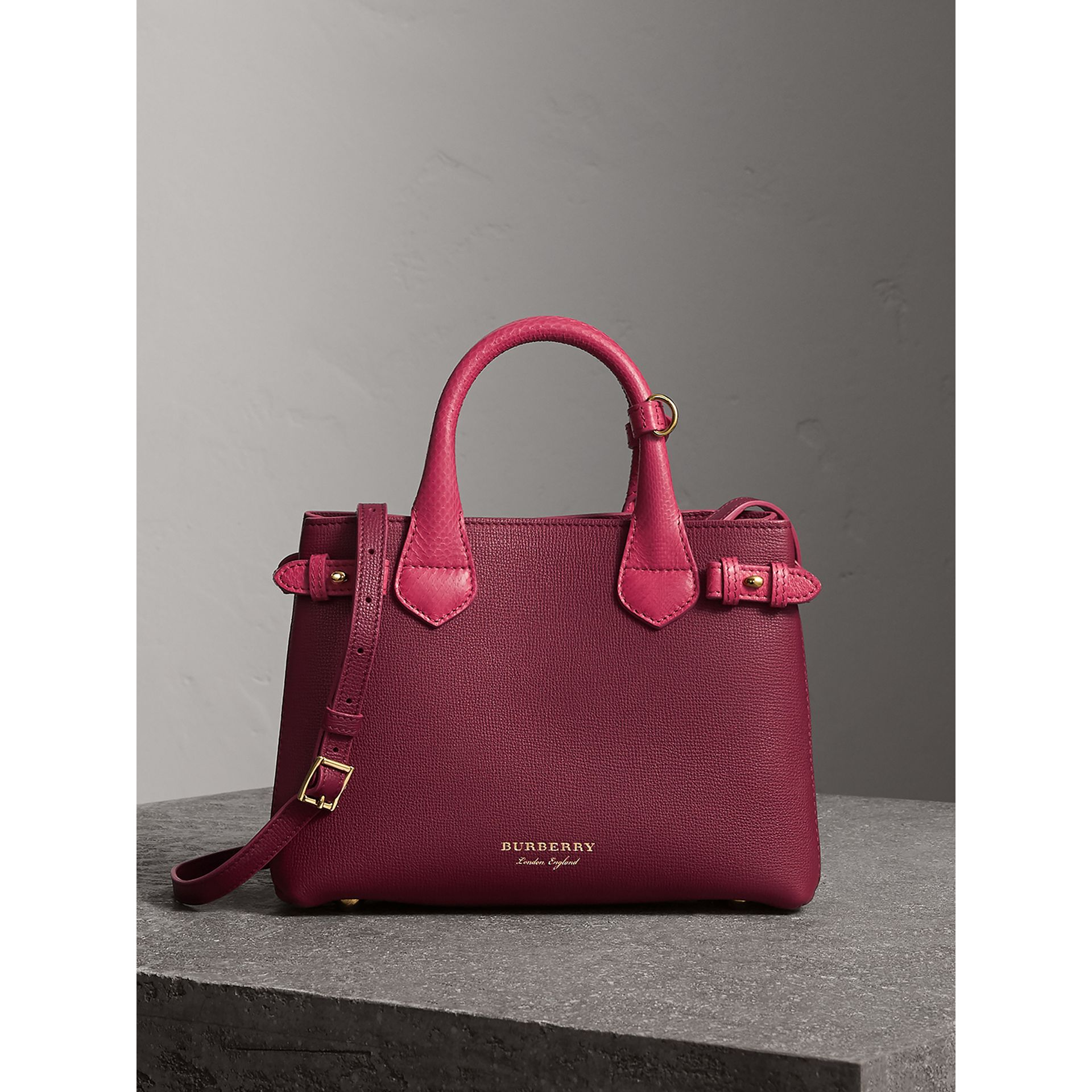 The Small Banner in Two-tone Leather in Berry Pink - Women | Burberry - gallery image 7