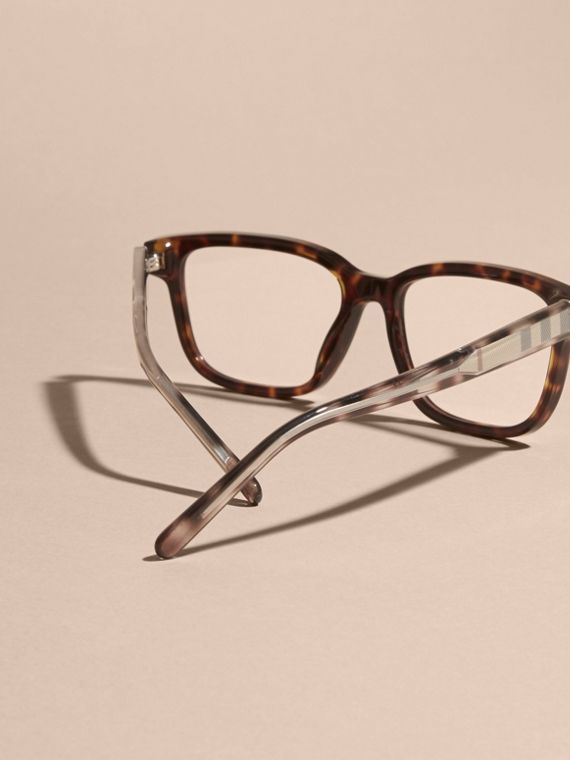 Light russet brown Check Detail Rectangular Optical Frames Light Russet Brown - cell image 3