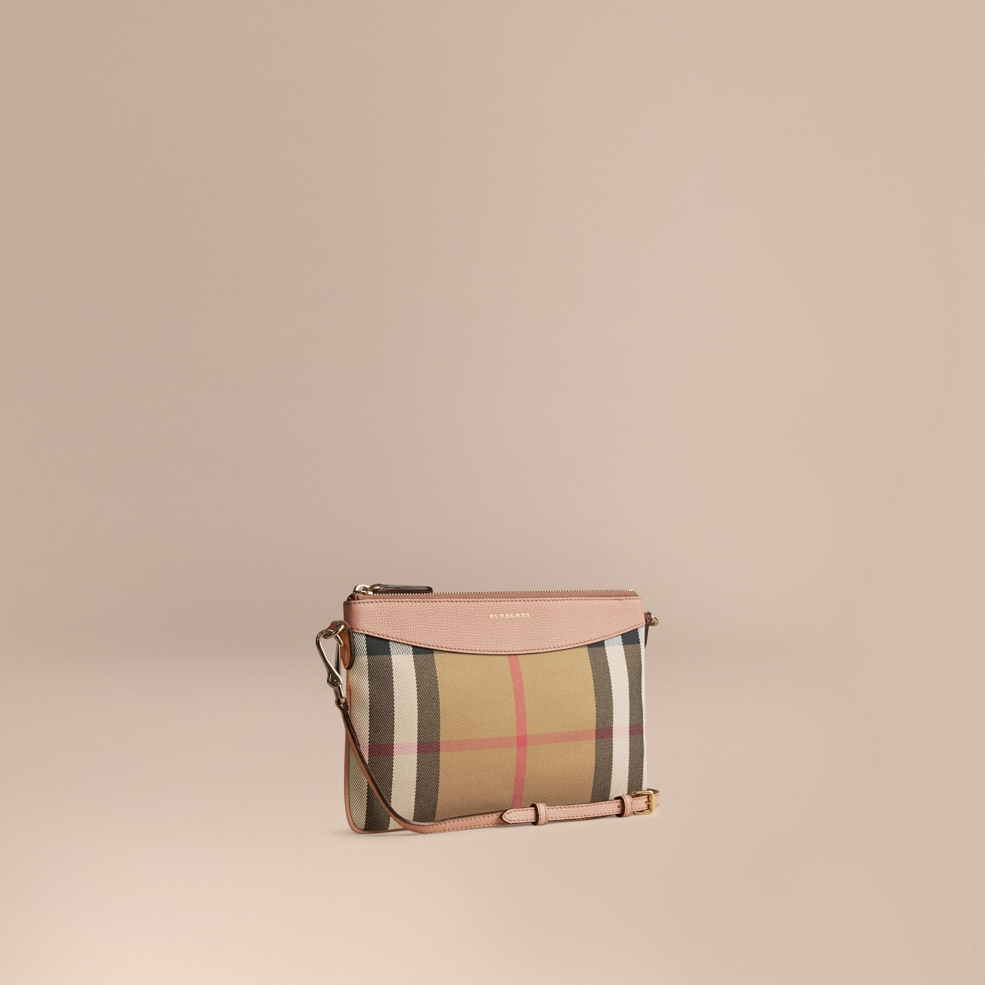 House Check and Leather Clutch Bag in Pale Orchid - Women | Burberry - gallery image 1