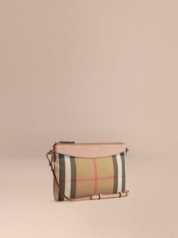 House Check and Leather Clutch Bag in Pale Orchid - Women | Burberry