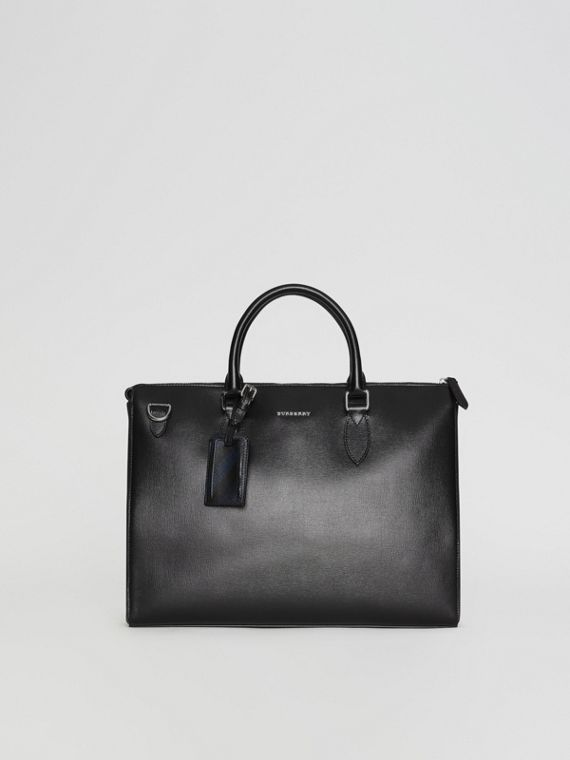 Grand attaché-case en cuir London (Noir)