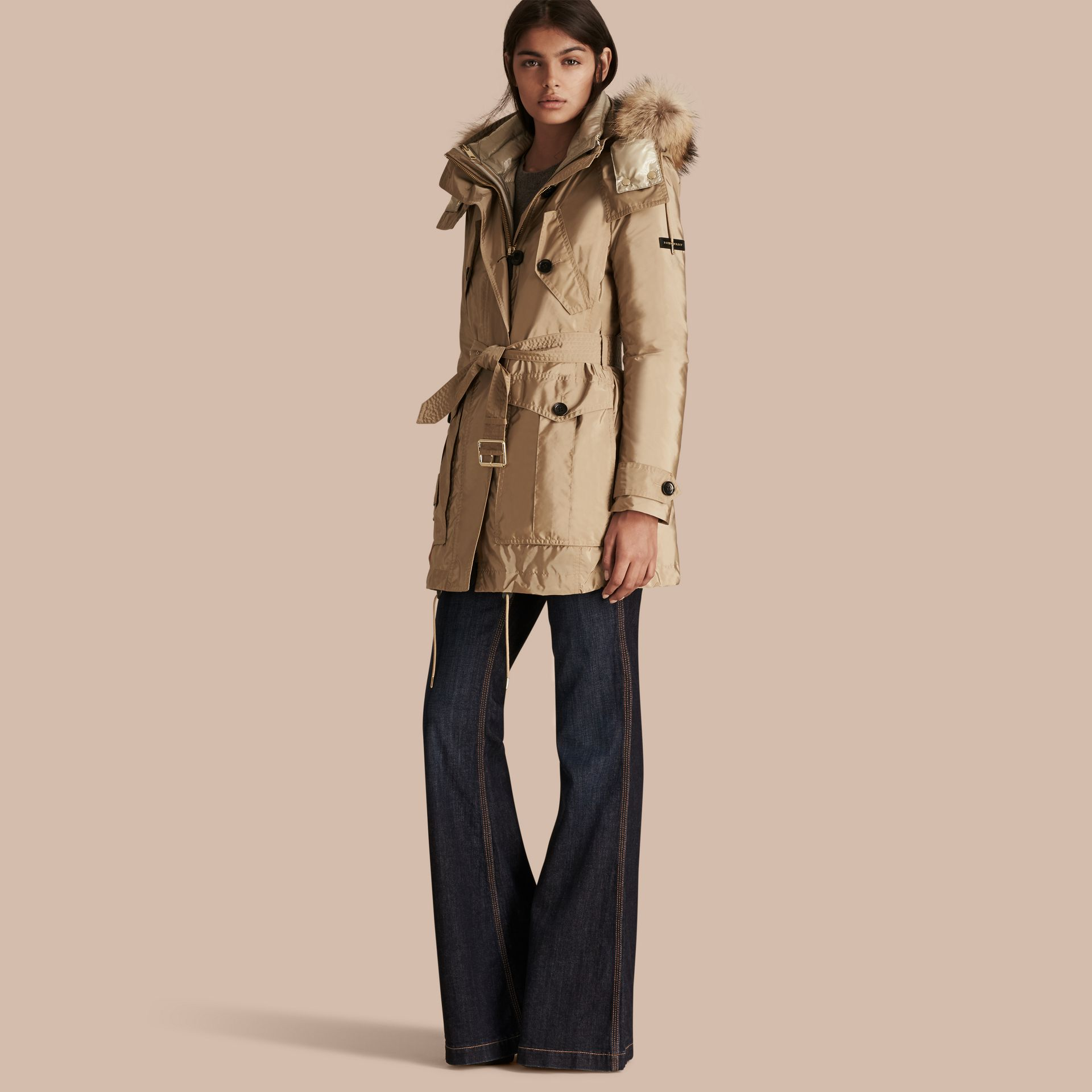 Fur-trimmed Parka with Detachable Down-filled Jacket in Sisal - gallery image 1