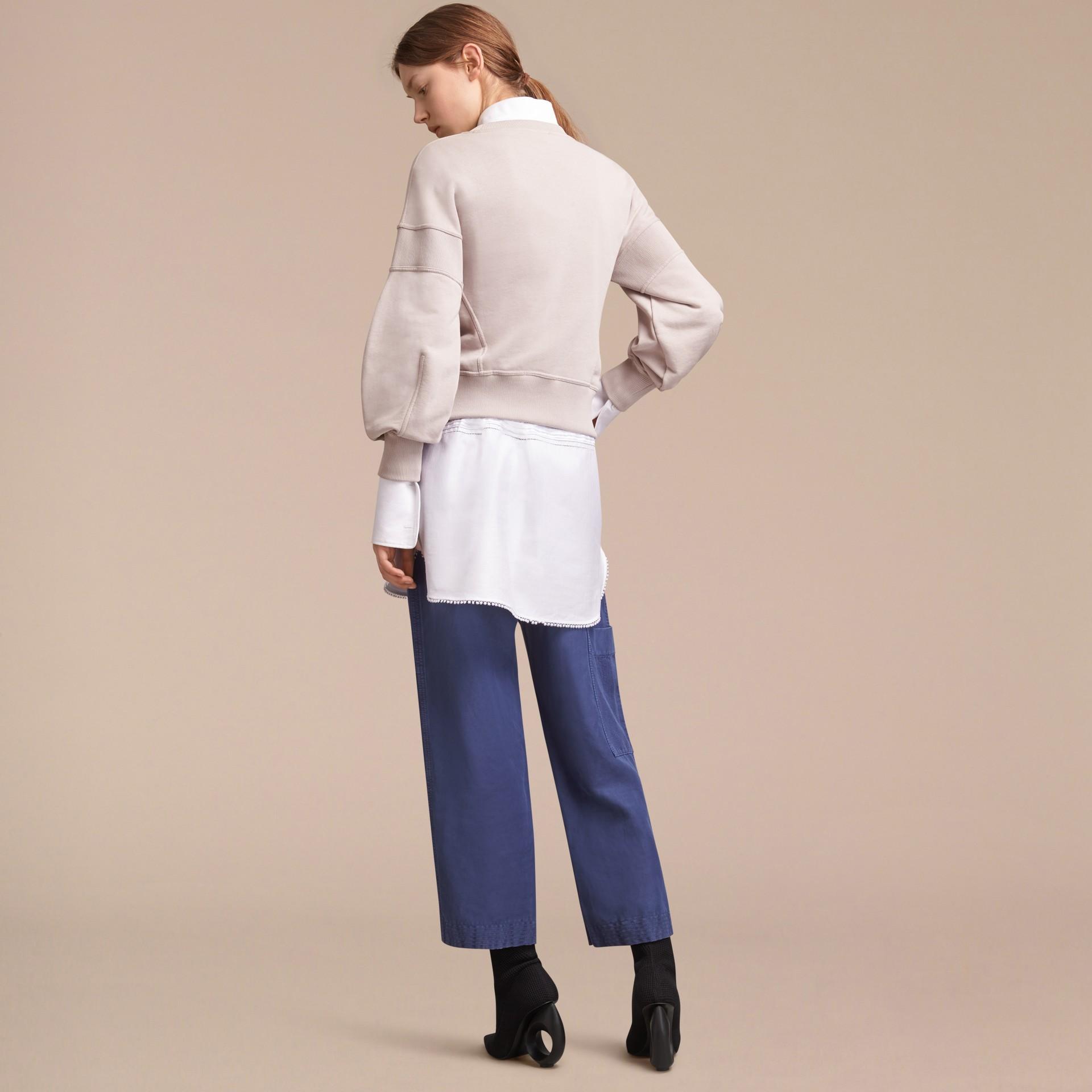 Puffed-sleeve Cotton Panelled Sweatshirt - gallery image 3