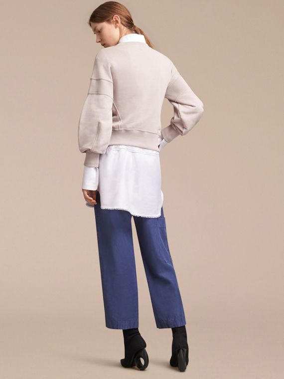 Puffed-sleeve Cotton Panelled Sweatshirt - cell image 2