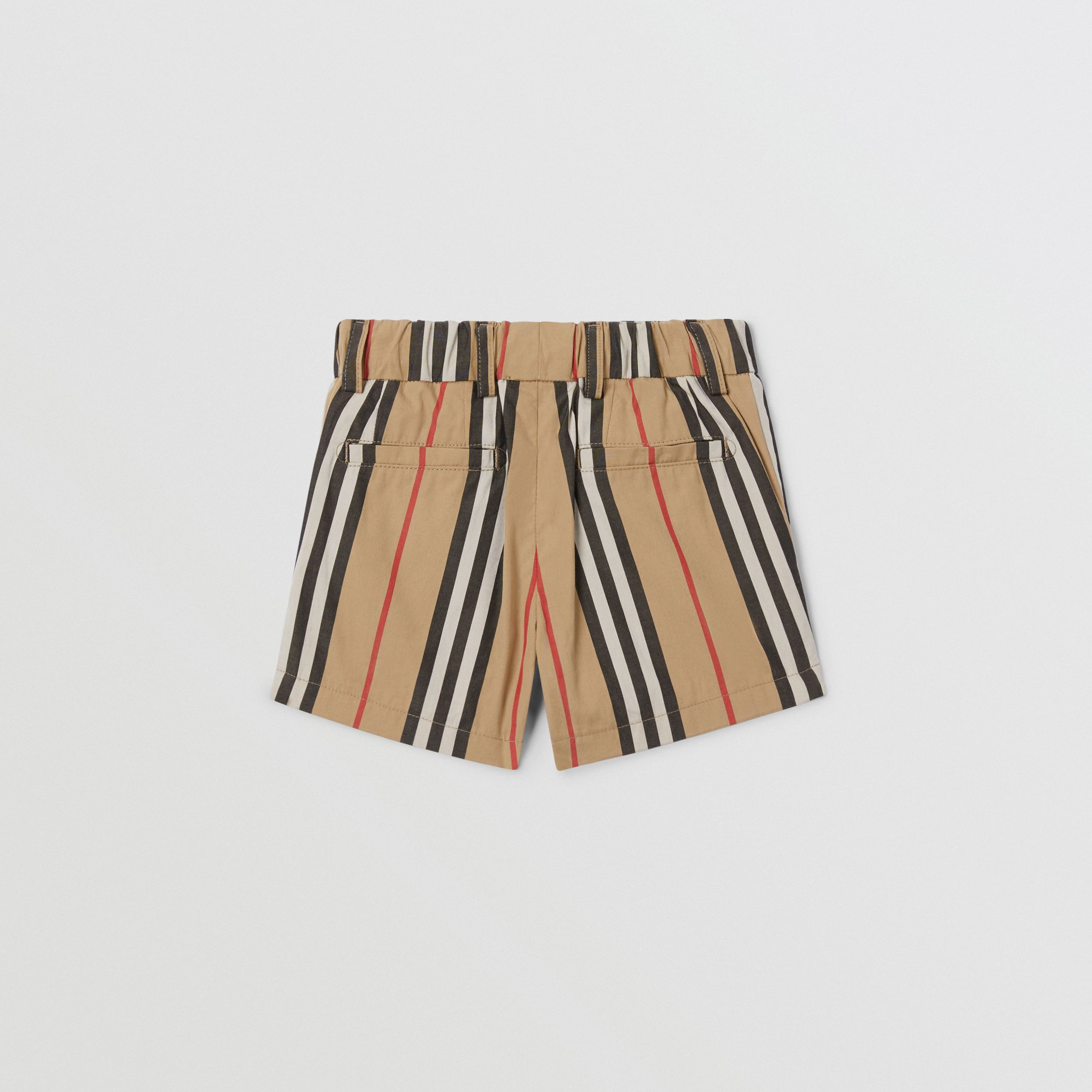 Icon Stripe Cotton Chino Shorts in Archive Beige - Children | Burberry - 4