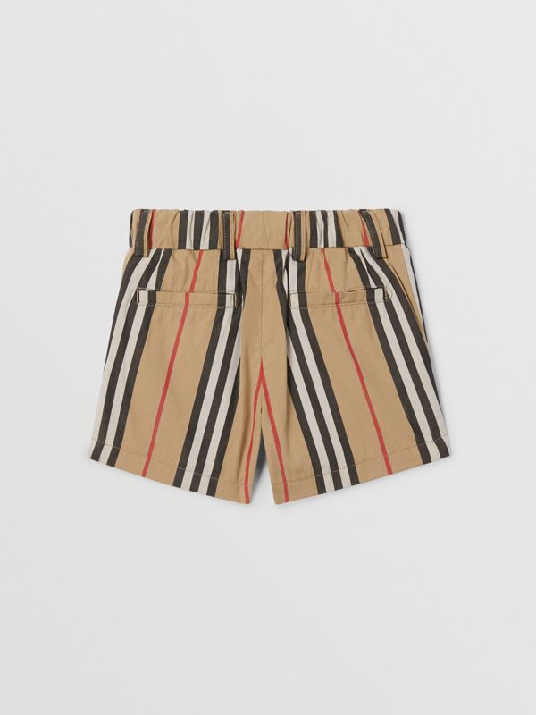 Icon Stripe Cotton Chino Shorts in Archive Beige - Children | Burberry - cell image 3