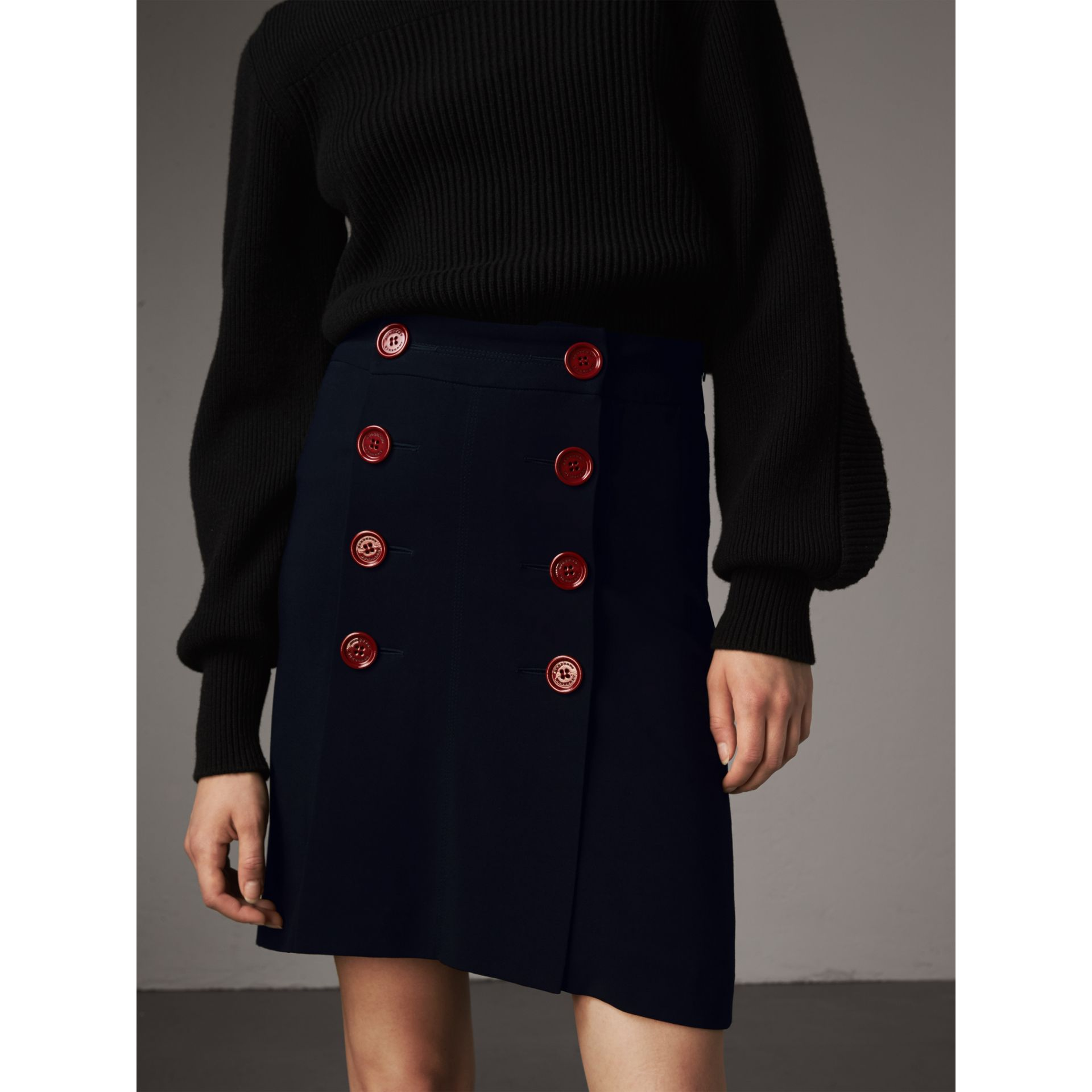 Resin Button Double-breasted Tailored Skirt in Navy - Women | Burberry Singapore - gallery image 1