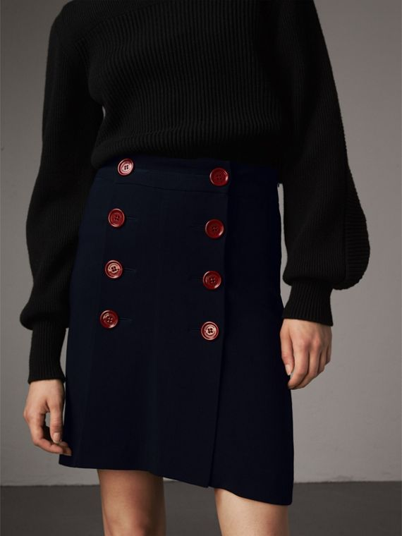 Resin Button Double-breasted Tailored Skirt in Navy