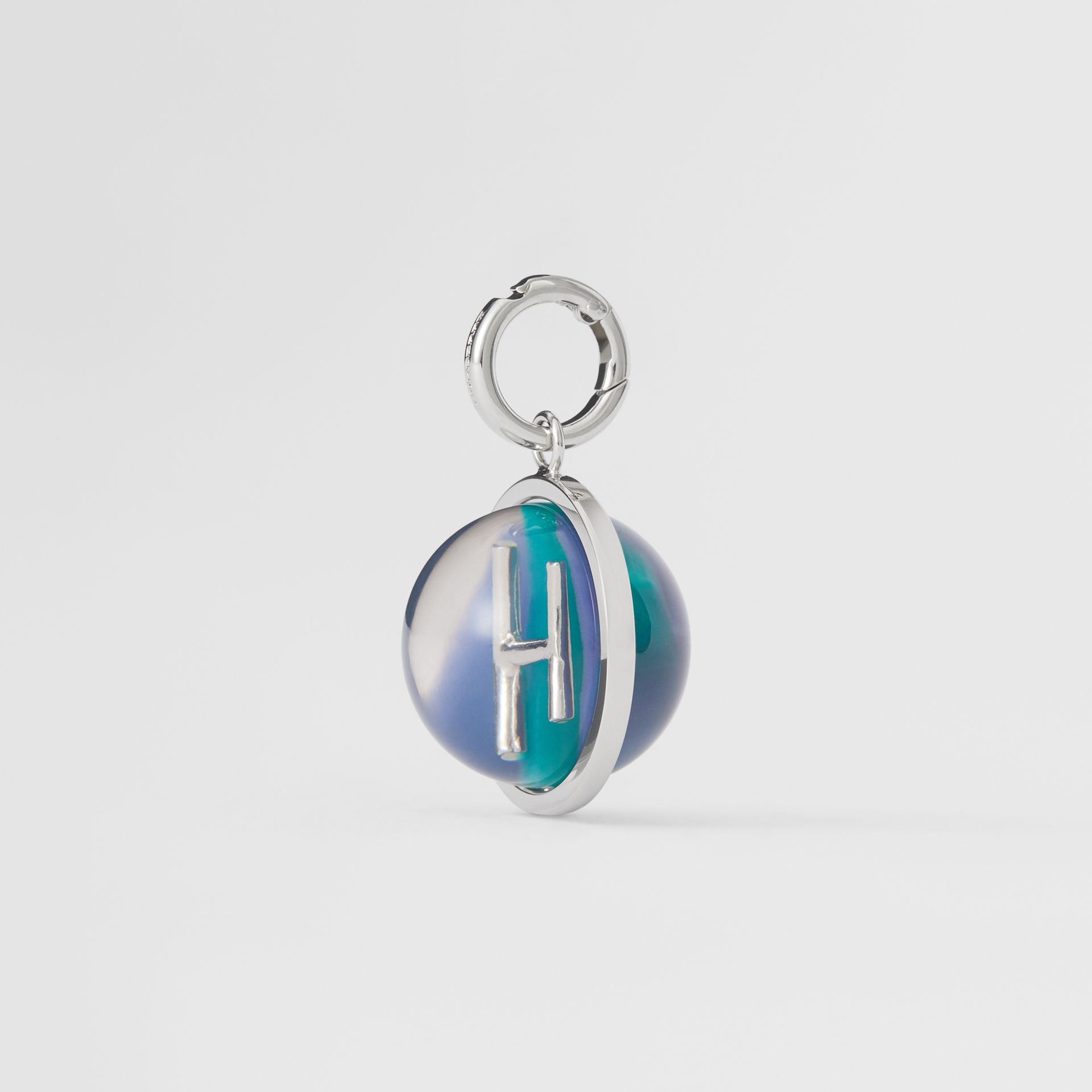 Marbled Resin 'H' Alphabet Charm in Palladio/ocean Blue - Women | Burberry - gallery image 4