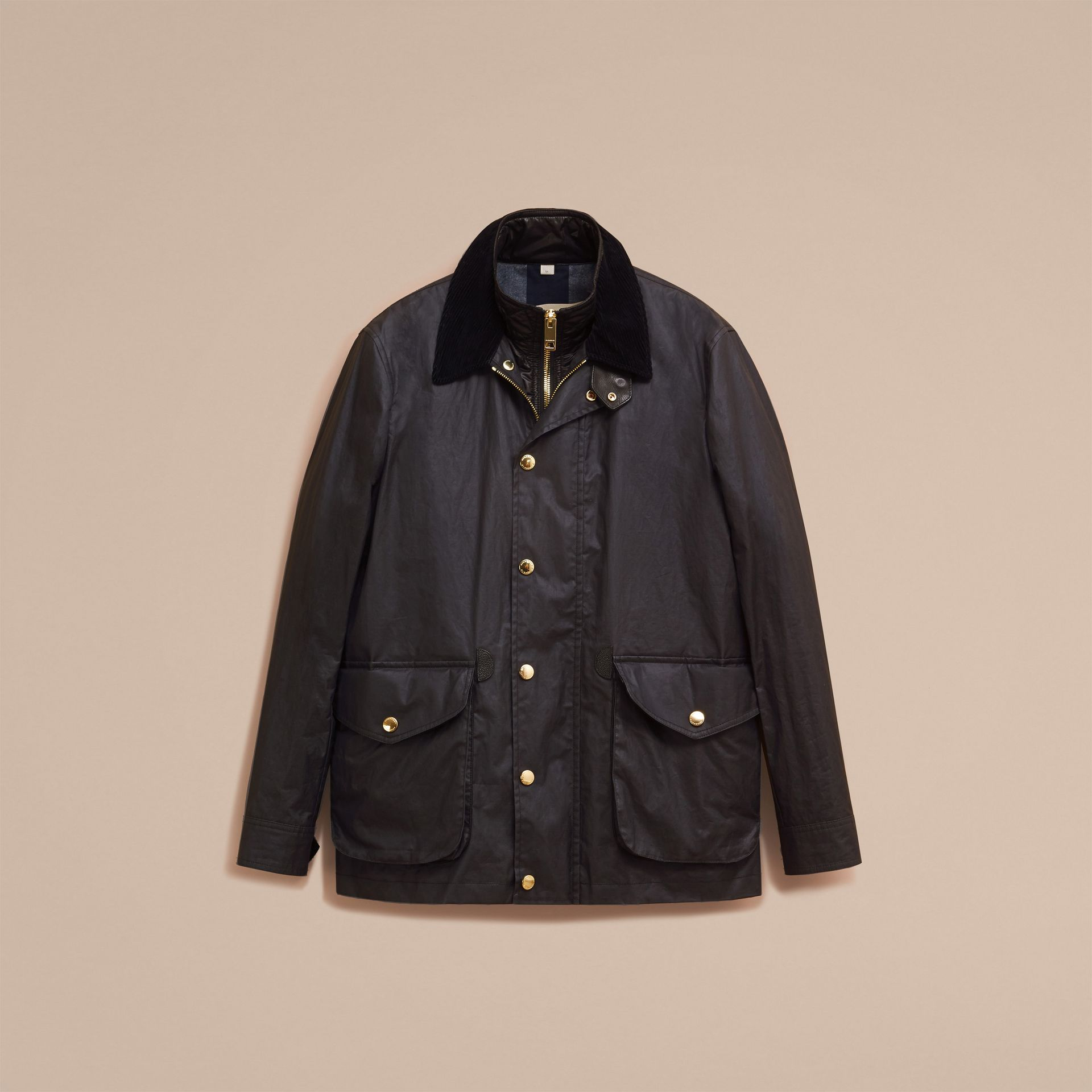 Dark navy Waxed Cotton Linen Jacket with Detachable Warmer - gallery image 4