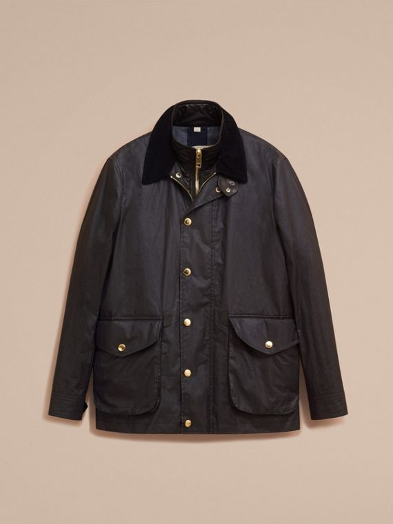 Dark navy Waxed Cotton Linen Jacket with Detachable Warmer - cell image 3