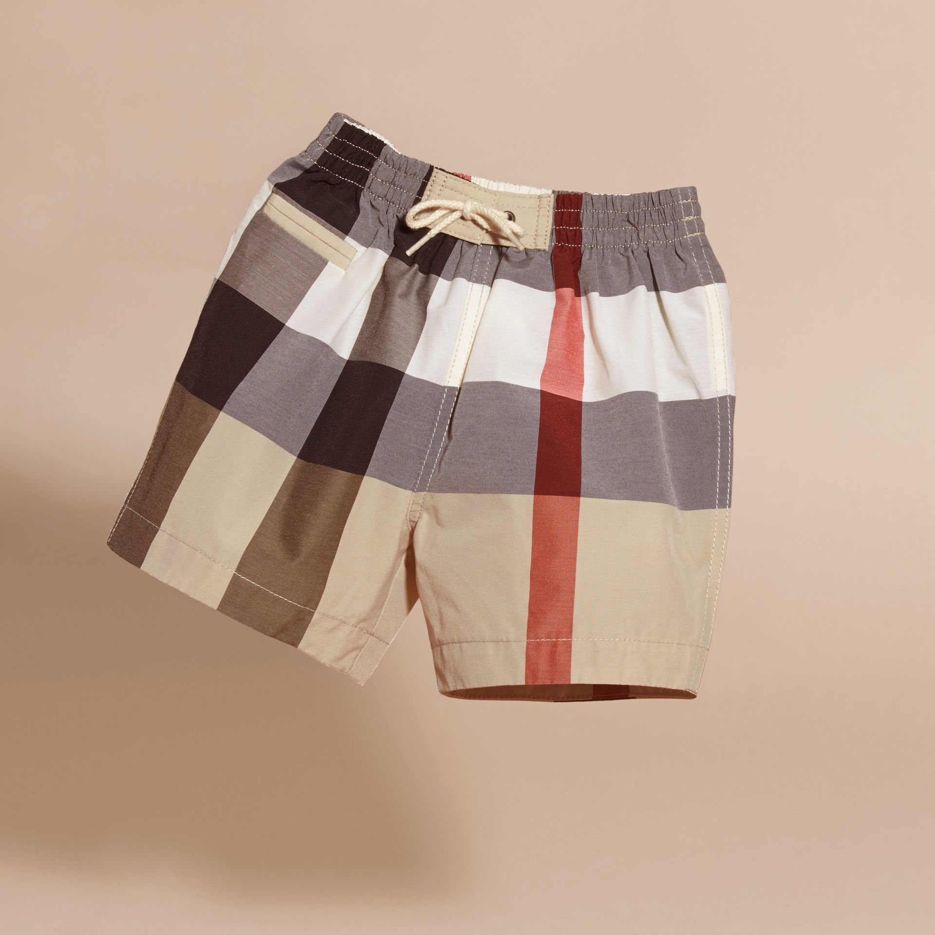 Check Technical Cotton Swim Shorts in New Classic | Burberry - gallery image 3