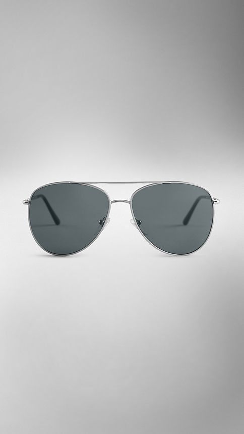 Silver Check Arm Aviator Sunglasses - Image 2