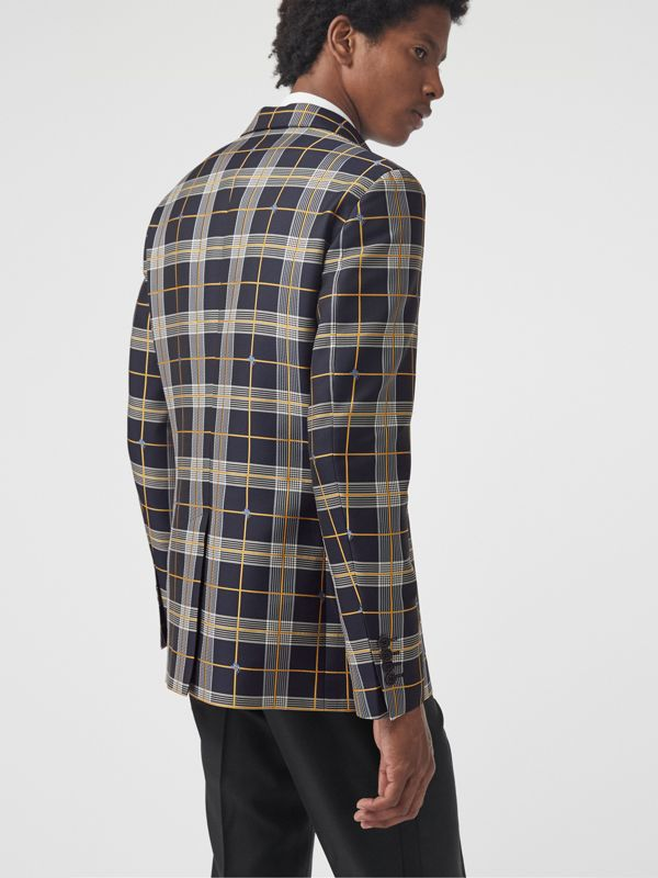 Slim Fit Equestrian Knight Check Tailored Jacket in Navy - Men | Burberry - cell image 2