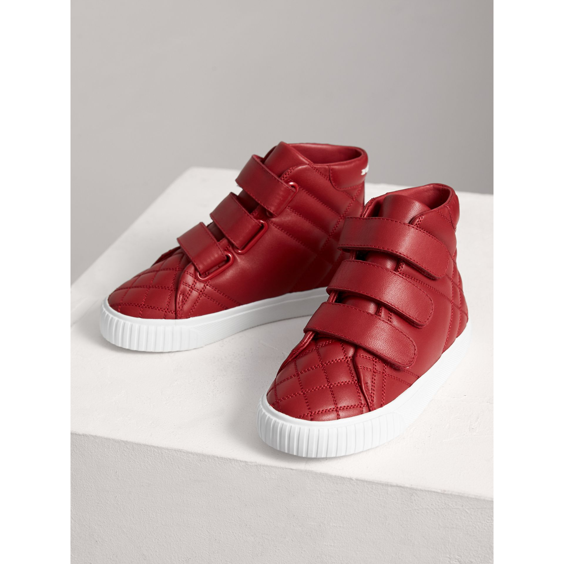 Check-quilted Leather High-top Sneakers in Parade Red | Burberry - gallery image 3