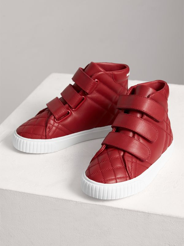 Check-quilted Leather High-top Sneakers in Parade Red | Burberry - cell image 3
