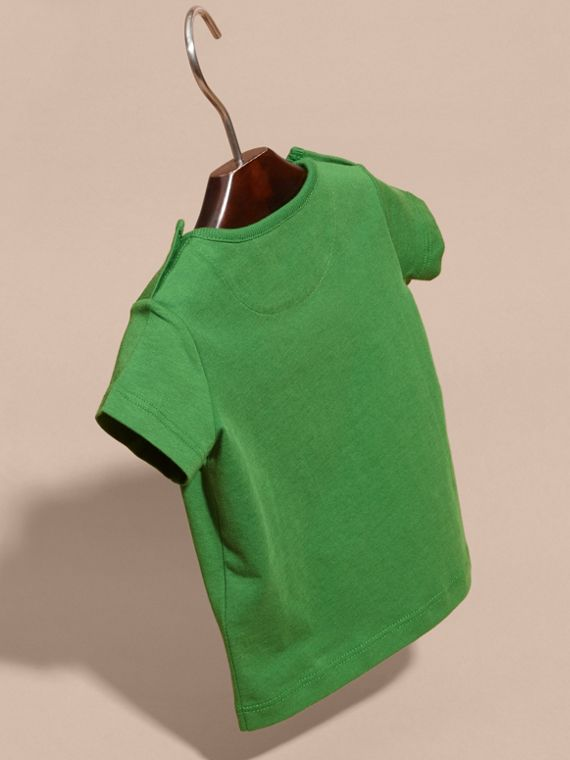 Bright fern green Crew Neck Cotton T-shirt Bright Fern Green - cell image 3