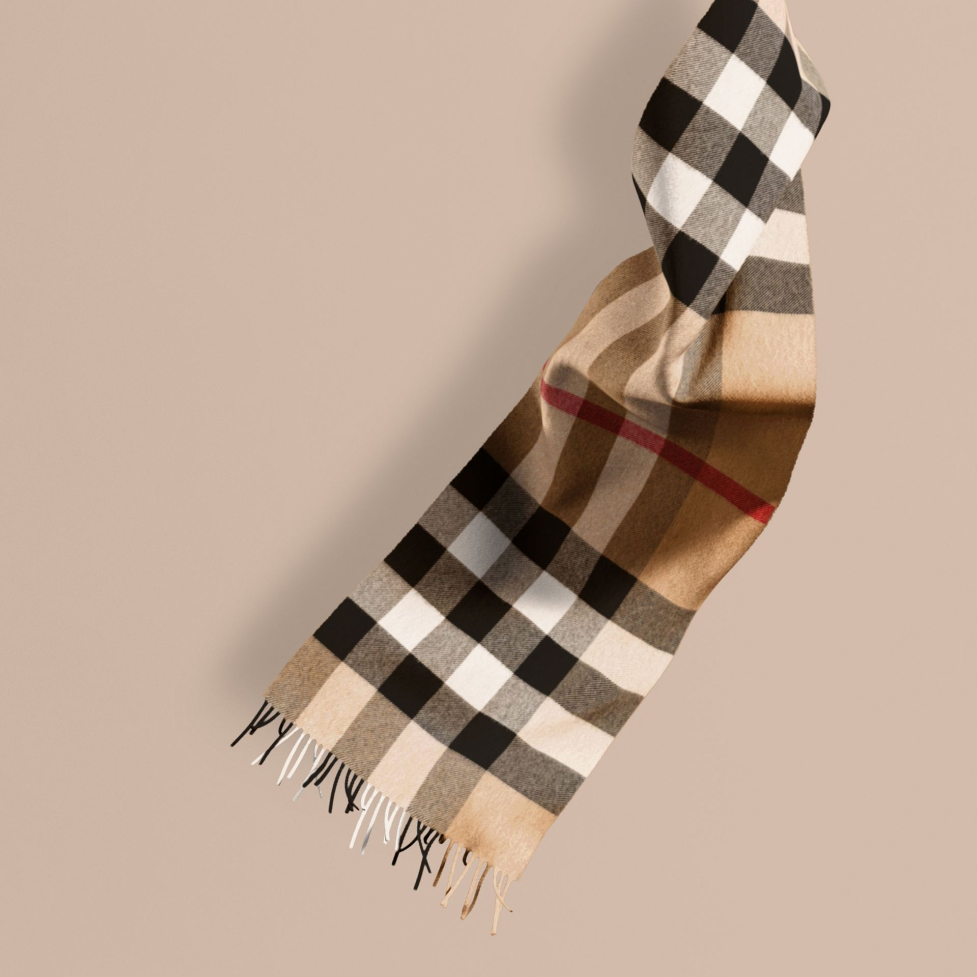 The Large Classic Cashmere Scarf in Check in Camel - gallery image 1