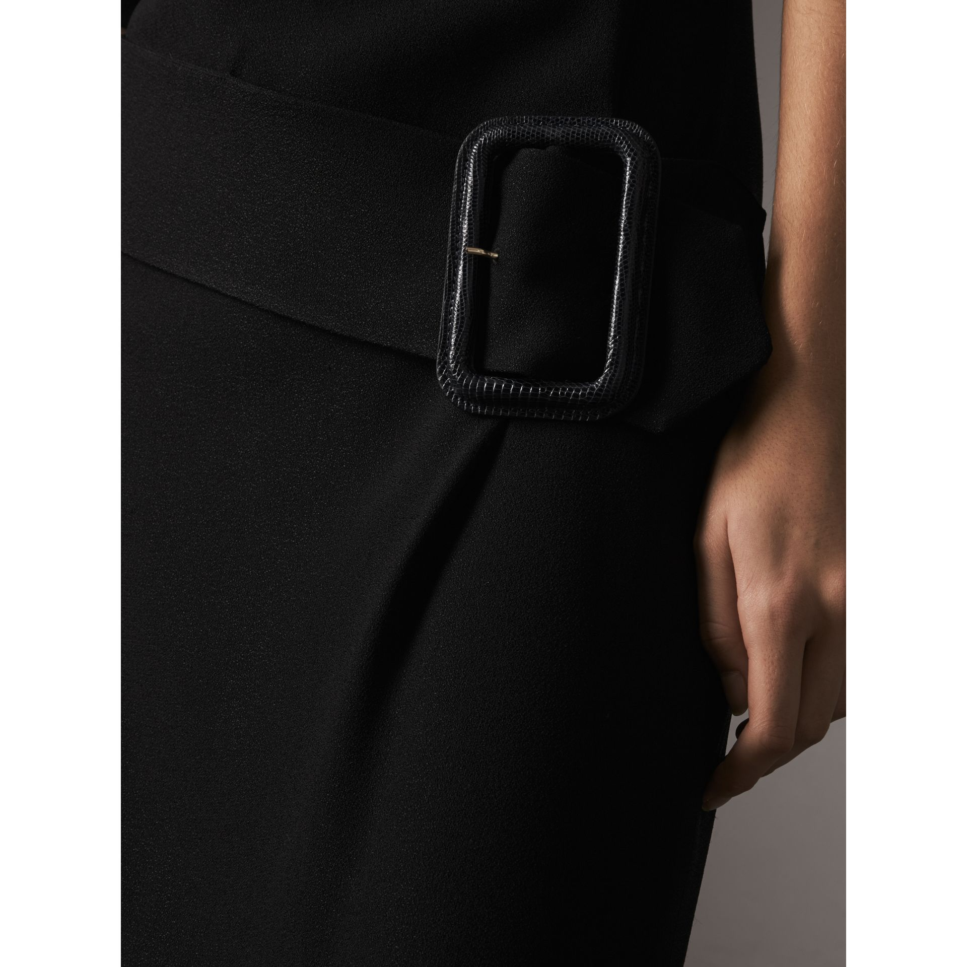 Belted Crepe Shift Dress in Black - Women | Burberry Singapore - gallery image 2