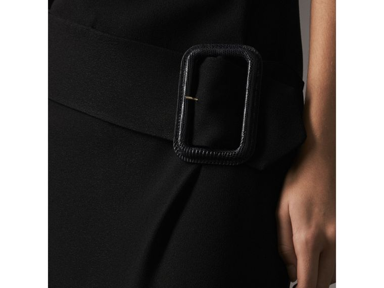 Belted Crepe Shift Dress in Black - Women | Burberry Singapore - cell image 1