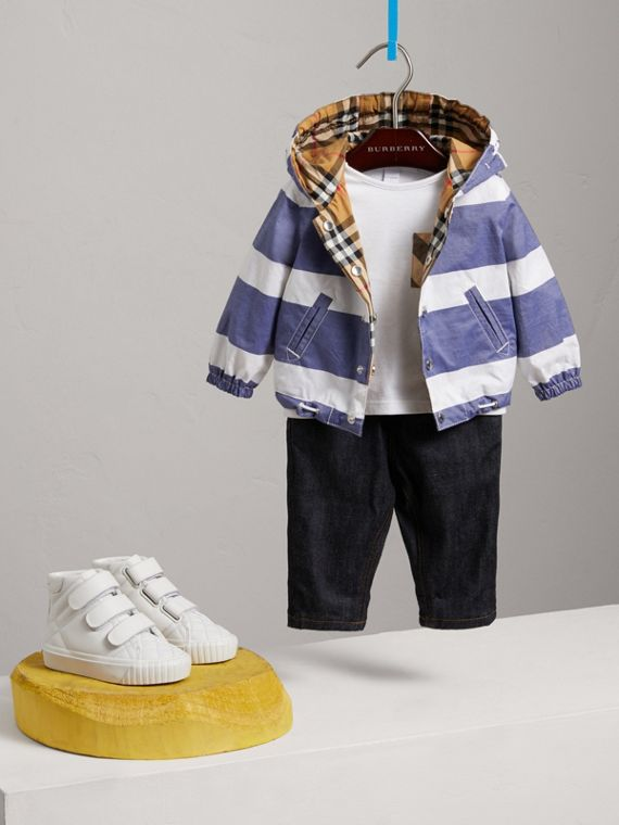 Reversible Stripe and Vintage Check Hooded Jacket in Navy/white