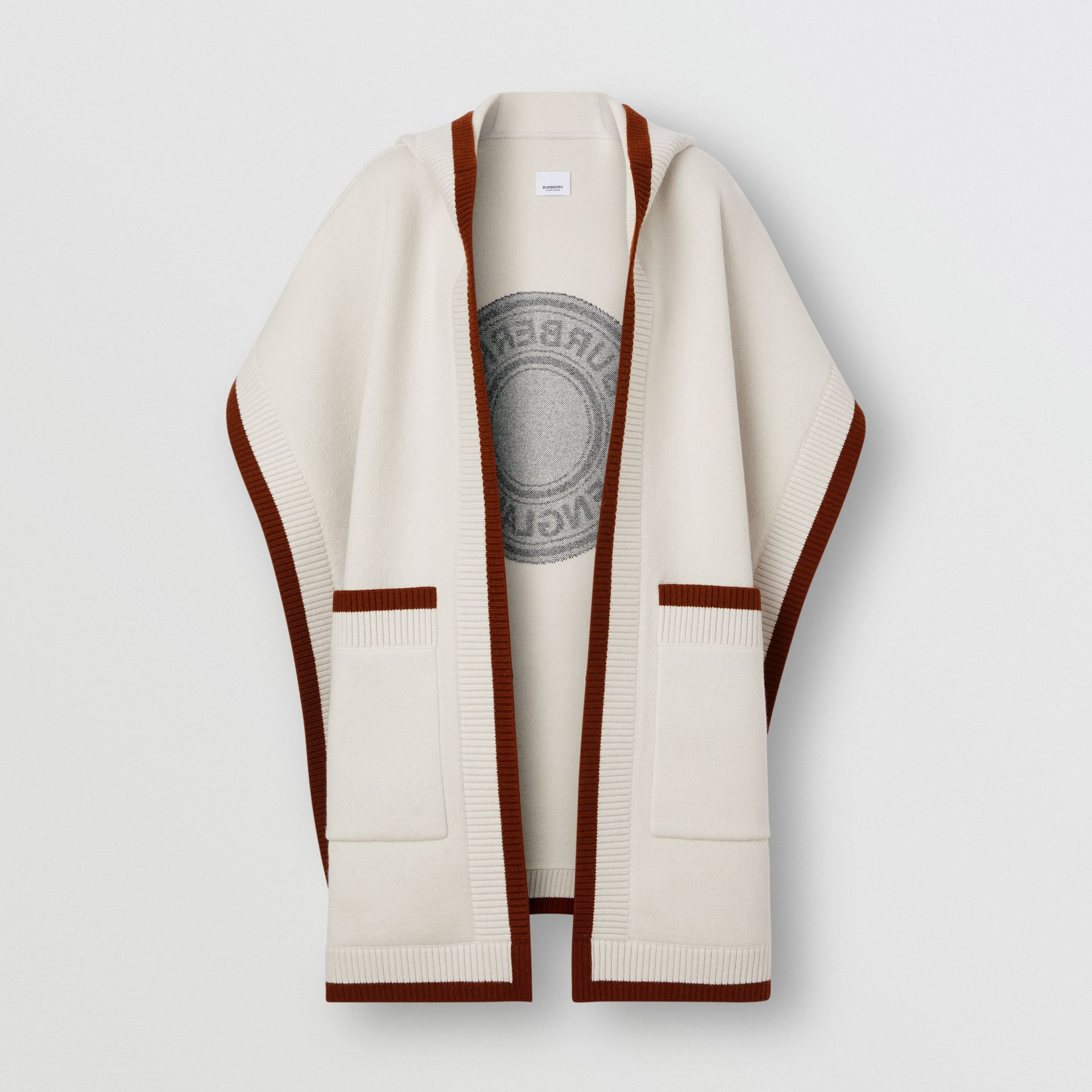 Logo Graphic Wool Cashmere Jacquard Hooded Cape in Canvas - Women | Burberry - gallery image 3