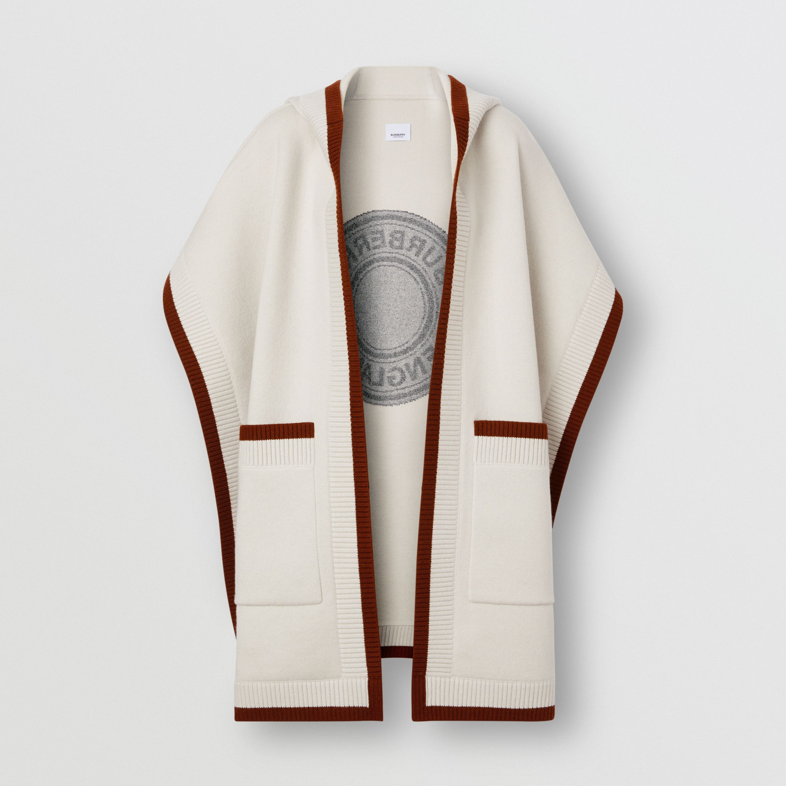 Logo Graphic Wool Cashmere Jacquard Hooded Cape in Canvas - Women | Burberry United Kingdom - 4