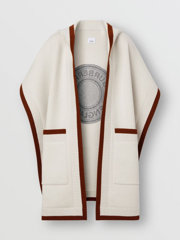 Logo Graphic Wool Cashmere Jacquard Hooded Cape in Canvas - Women | Burberry - cell image 3