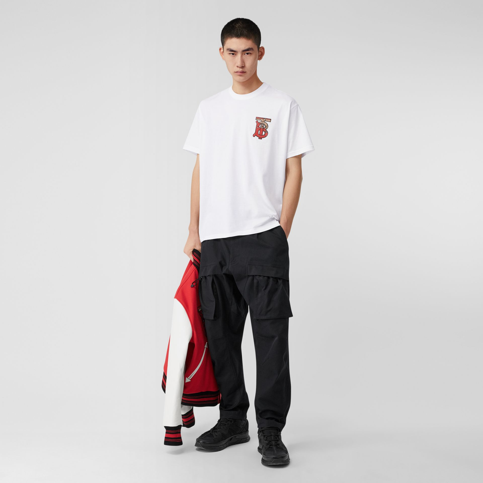 Monogram Motif Cotton Oversized T-shirt in White - Men | Burberry - gallery image 0