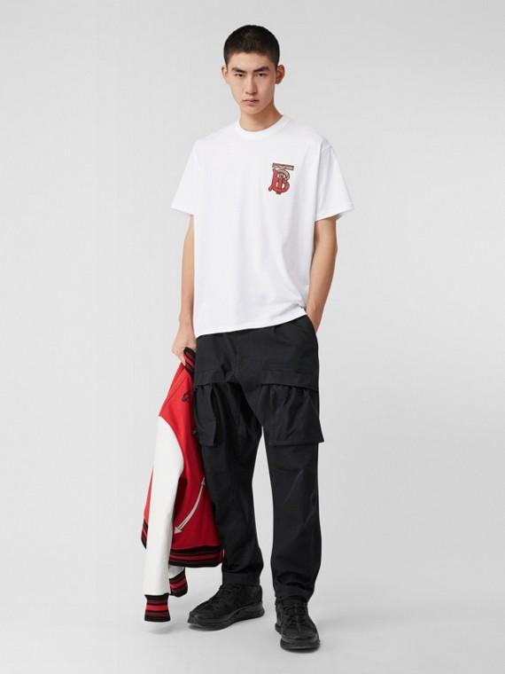 花押字圖案棉質寬版 T 恤 (白色)