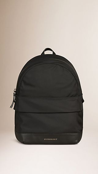 Leather Detail Nylon Backpack