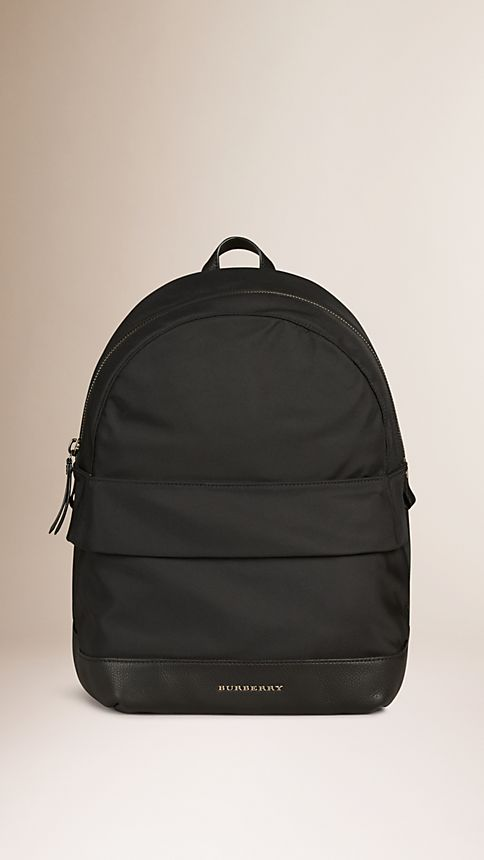 Black Leather Detail Nylon Backpack - Image 1