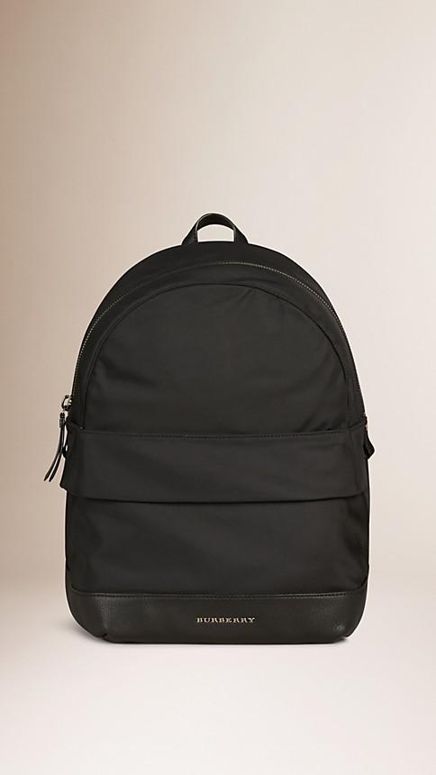 Noir Sac à dos en nylon avec touches de cuir - Image 1