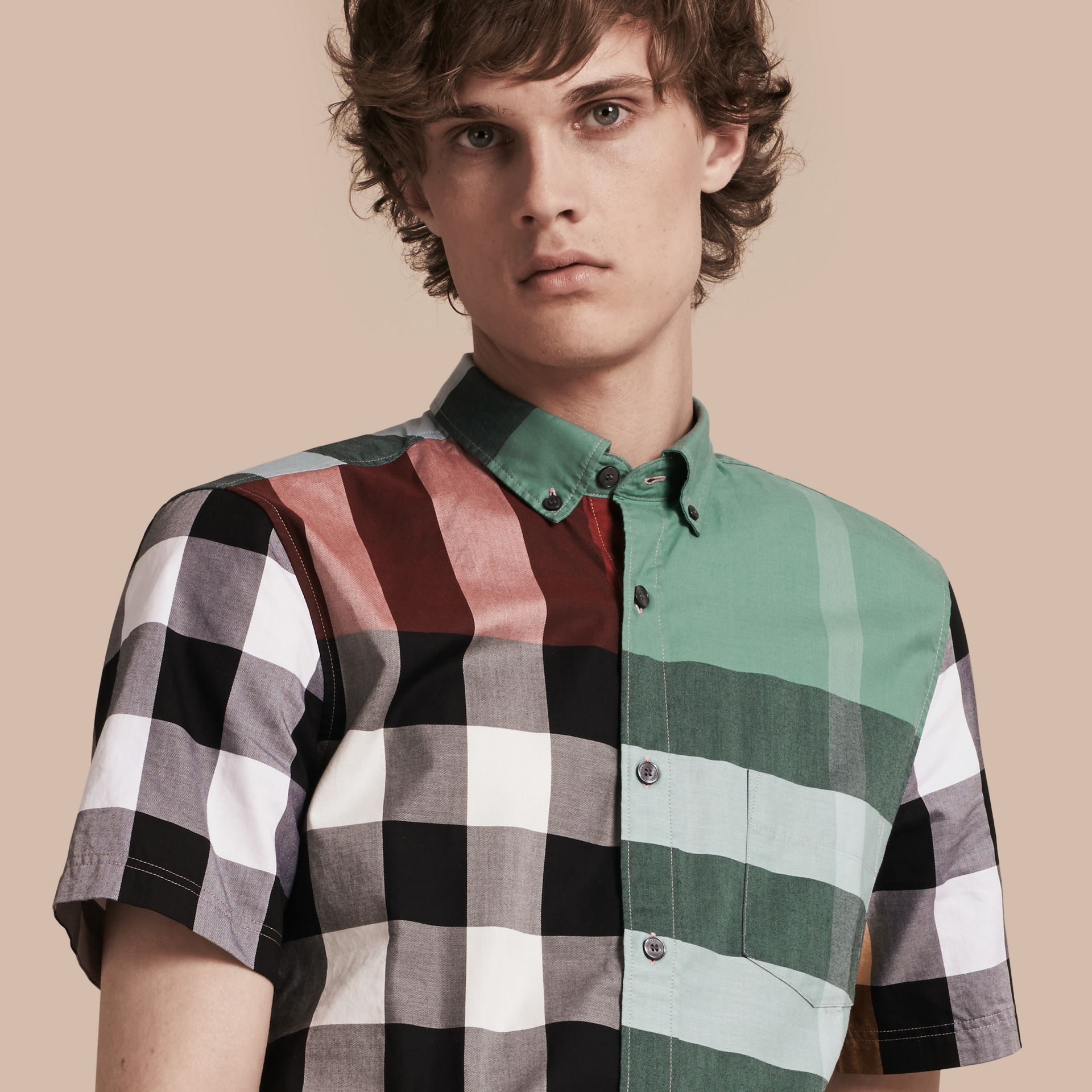 Parade red Short-sleeved Colour Block Check Cotton Shirt Parade Red - gallery image 1