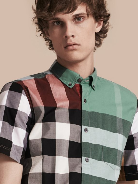 Short-sleeved Colour Block Check Cotton Shirt Parade Red
