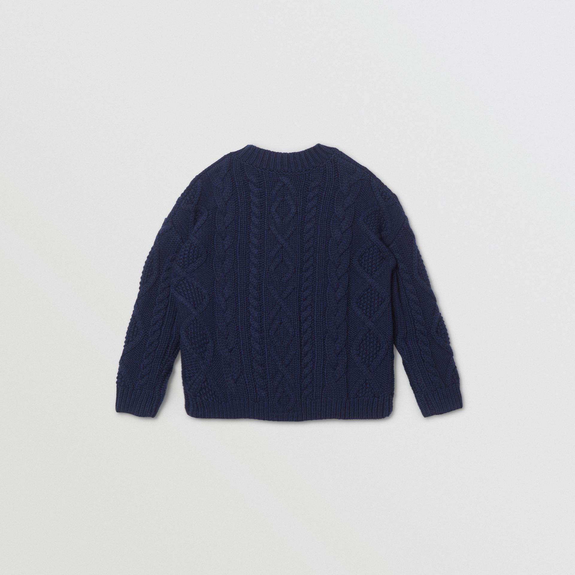 Logo Panel Cable Knit Wool Cashmere Sweater in Navy | Burberry Singapore - gallery image 3