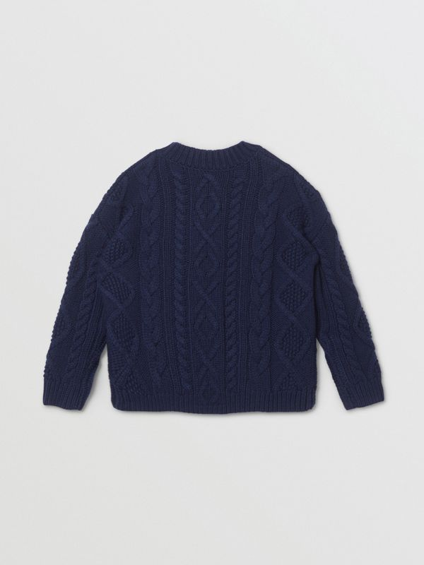 Logo Panel Cable Knit Wool Cashmere Sweater in Navy | Burberry Singapore - cell image 3