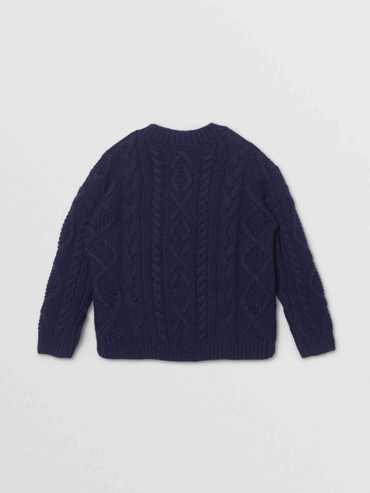 Logo Panel Cable Knit Wool Cashmere Sweater in Navy